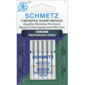 Schmetz Microtex (Sharp) Needles, 70/10, Chrome Professional Grade, 5pk