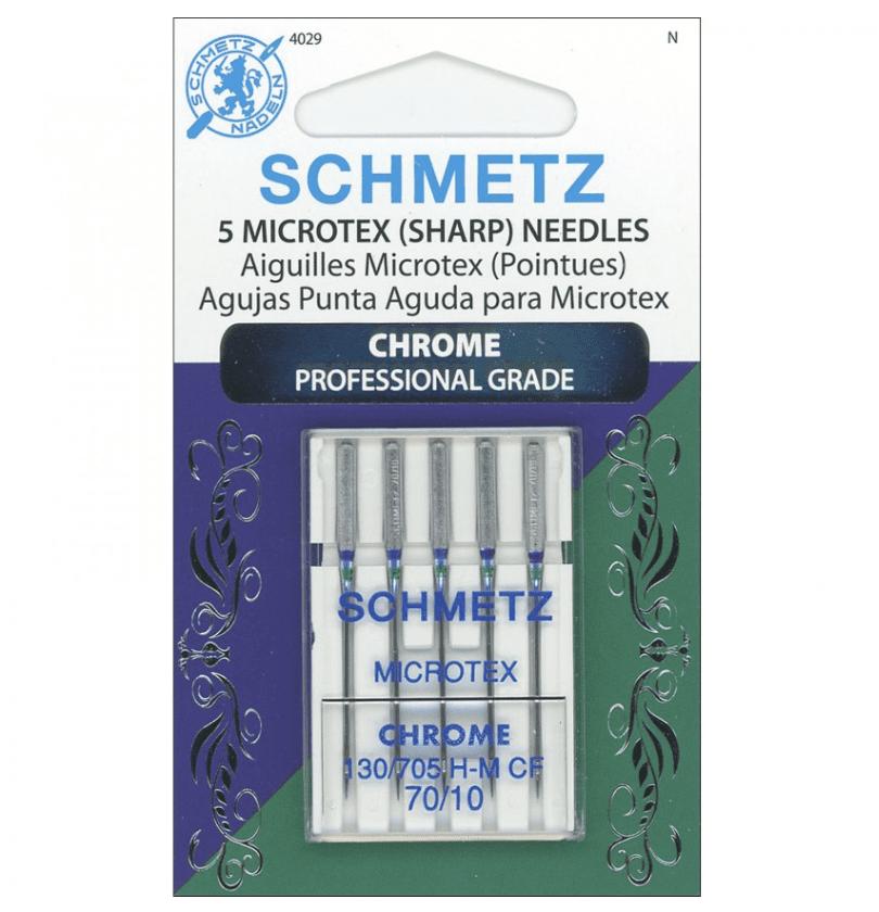 Schmetz Microtex (Sharp) Needles, 70/10, Chrome Professional Grade, 5pk