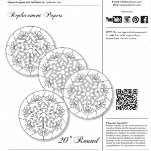 "Replacement Papers for Scandinavian Snowflake Table Toppers (4) 20"" Round"