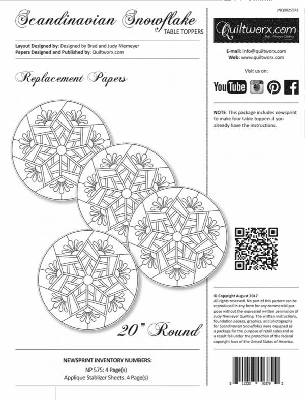 """Replacement Papers for Scandinavian Snowflake Table Toppers (4) 20"""" Round"""